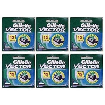 Vector Plus Refill Razor Blades 4 ct. (Pack of 6) + FREE LA Cross 71817 Tweezer