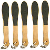 Double Sided Pedicure Foot File with Wooden Handle - 5 Pack