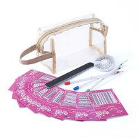 Zodaca 5-piece Nail Art Stickers Gift Set, 3D Glitter Rhinestones, File Sandpaper, Polish Pens & Clear Cosmetic Bag (5-in-1 Accessory Bundle)