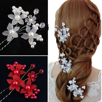 Cuhair(tm) 6pcs(3pcs red 3pcs white) Wedding Dinner Party Rhinestone Crystal hairpin Women Girl Hair Clip Pin Claw Barrettes Accessories for christmas new year party gift