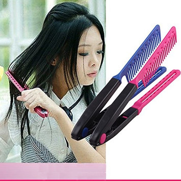 V Shape Comb,Hair Straightening Styling Comb Brush for Curly, Thick or Coarse Hair (Blue)