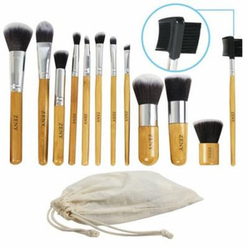 Zeny 12Pcs Wood Cosmetic Tools Set Eyeshadow Foundation Concealer Makeup Brushes Bag
