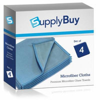 SupplyBuy Premium Microfiber Towels | Lint-Free, Streak-Free Cleaning Cloths for Glass, Mirrors, and Windows | Pack of 4 - 12x16 (12