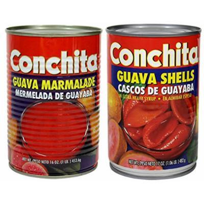Conchita Guava Variety Pack, 1 Shells in Extra Heavy Syrup, 17oz & 1 Guava Marmalade 16oz (Cascos de Guayaba en Alimibar Espeso y Mermelada)