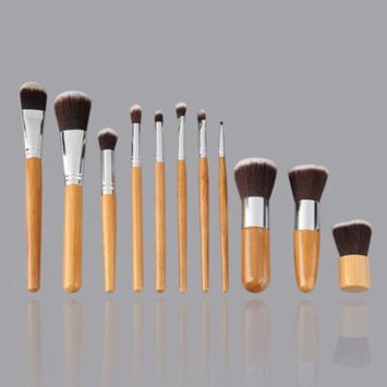 wooden 11 Pieces Makeup Brush Set with A Cloth Bag Comestic Brushes Wooden Bamboo