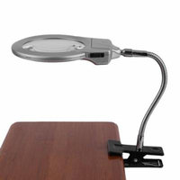 Hot Sale Upgraded 2.25x 5x Desktop LED Lamp Metal Hose Magnifier Magnifying Glass Clamp On Table, Silver