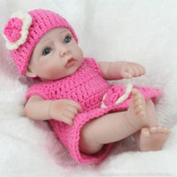Baby Doll Infant Reborn Handmade Doll Eco-friendly Girl Doll For Gift Training skin color&rose pink