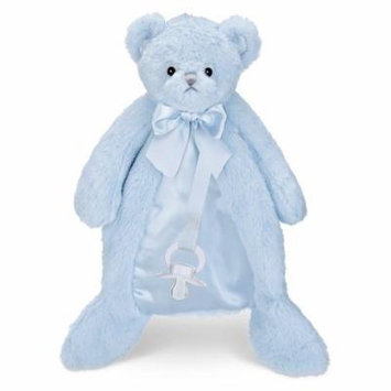 Bearington Baby PACIFIER PET Plush Animal with Pacifier Tether and Pouch (Blue Huggie Bear)