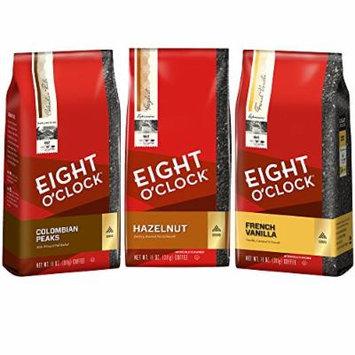 Eight OClock Ground Coffee , Colombian Peaks, Hazelnut & French Vanilla , Best 100% Arabica Beans Medium Roast & Kosher , 3 Different Variety 11 oz. Bag Each. (Breakfast)