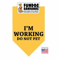 Fun Dog Bandana - I'm Working Do Not Pet - One Size Fits Most for Med to Lg Dogs, gold pet scarf