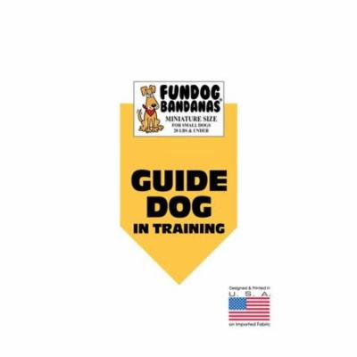 MINI Fun Dog Bandana - Guide Dog in Training - Miniature Size for Small Dogs under 20 lbs, gold pet scarf