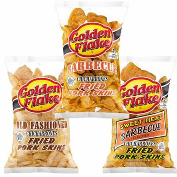 Golden Flake Fried Pork Skins Variety Pack: Old Fashioned, Barbecue, Sweet Heat Barbecue (1 Bag of Each)