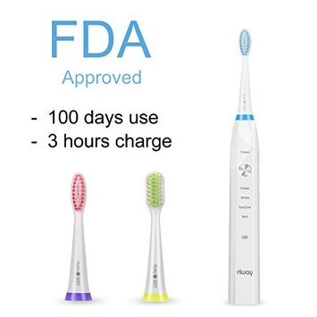 Rlway Sonic Electric Toothbrushes 5 Deep Cleaning Modes as Dentist USB Rechargeable in 3 Hours Last 100 Days,Sonic Electric Toothbrush with 3 Replacement Heads and Super Waterproof Function