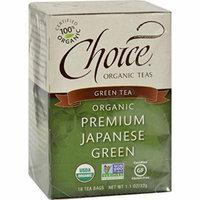 Choice Organic Teas Premium Japanese Green Tea - 16 Tea Bags - Case of 6 - 95%+ Organic -