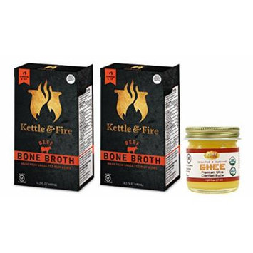 Kettle & Fire - 2 Organic Beef Bone Broths with Pure Traditions ghee - ( 2 Beef Broth 16.2 oz with 1.25 oz ghee)