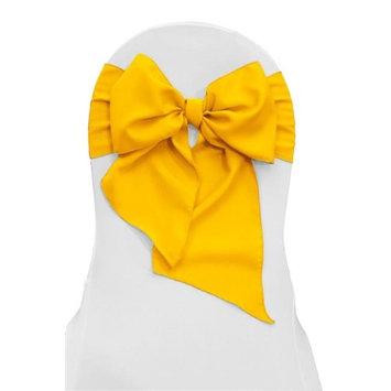 LA Linen TCpop8x108-Pk10-YellowDrkP47 Polyester Poplin Chair Bows, Dark Yellow - 8 x 108 in. (Pack of 10)