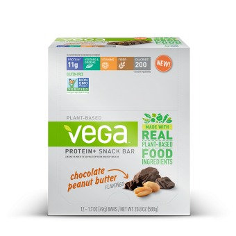 Vega Protein + Snack Bar Chocolate Peanut Butter SeQuel 12 (1.7oz (49g) Bars Box