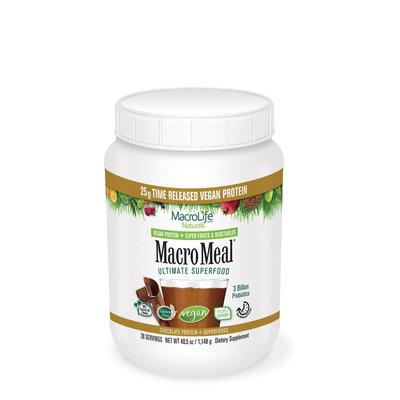 MacroMeal Vegan Chocolate 28 Serving Macrolife Naturals 37 oz Powder