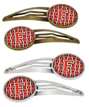 Letter F Football Scarlet and Grey Set of 4 Barrettes Hair Clips CJ1067-FHCS4