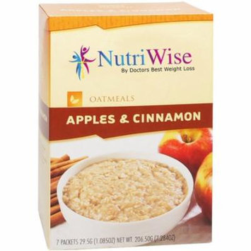 NUTRIWISE - High Protein Diet Oatmeal |Apples & Cinnamon| Low Calorie, Low Fat, No Sugar (7/Box)