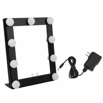 Portable LED Makeup Mirror Touch Screen 9 LEDs Lighted Tabletop Beauty Makeup Bath Mirror