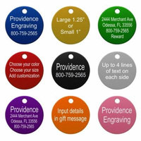 Pet ID Tags - Up to 8 Lines of Custom Engraving - Round - SILVER