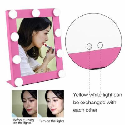 2017 New Portable Led Bulb Lighted Makeup Mirror With Dimmer Stage US Plug Mirror With Lights Beauty Mirror Decorative Mirror On Sale
