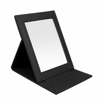 Fintie Portable Folding Vanity Makeup Mirror - PU Leather Folding Travel Cosmetic Mirror with Standing - Black