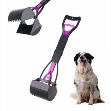 1 Pcs Pet Pooper Scooper Dog Poop Jaw Claw Rake Scoop Cleaner Cat Waste Pickup Remover (Purple + Black)