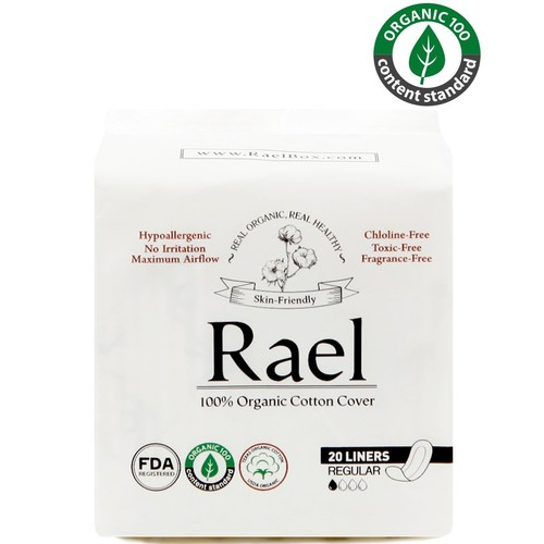 Rael Certified Organic CottonPanty Liners, Regular - 3Pack/60 total - Unscented Pantiliners - Natural Daily Pantyliners