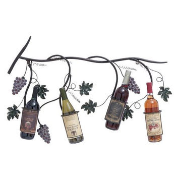 Woodland Import 93728 Unique Metal Wall Wine Rack with Matte Brown Texture