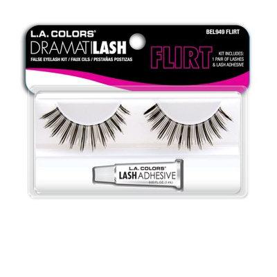LA Colors Dramatilash False Eyelash Kit with Glue, Flirt, 3 Ct
