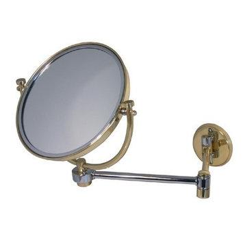 Allied Brass WM-5/5X-SBR 8-Inch Mirror with 5x Magnification Extends 7-Inch, Satin Brass