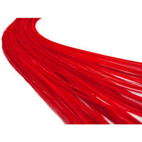 10 Pieces - Solid Red Thin Long Rooster Hair Extension Feathers