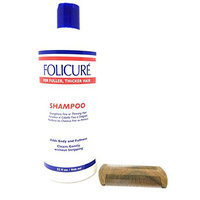 Folicure Shampoo 32 Ounce and SandalWood Comb Bundle