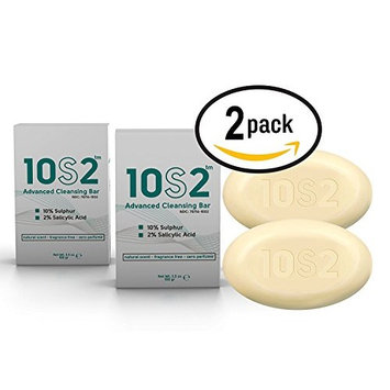 2 Pack - 10S2, 2% Salicylic Acid, 10% Sulfur Bar Soap, Anti-Fungal Antiseptic Facial Acne, Foot, Scalp & Body Soap, No Perfumes, No Fragrance, All Natural Scent