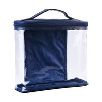 BCP Clear Color PVC & PU Zipper Cosmetic Organizer Bag Pouch Travel Toiletry Makeup Bag with Handle