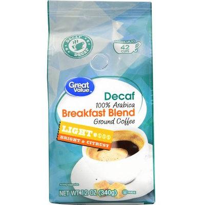 Great Value Decaf Breakfast Blend Ground Coffee, Light Roast, 12 oz