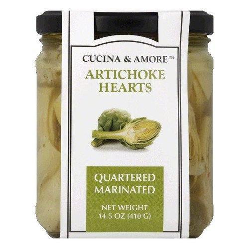 Cucina & Amore Marinated Quartered Artichoke Hearts, 14.5 Oz (Pack of 6)