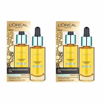 L'Oreal Paris Nutri Gold Extraordinary Facial Oil for Dry Skin, 1 Oz (Pack of 2) + Scunci Black Roller Pins, 18 Pcs