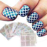 Fenleo 24 Sheets New Nail Hollow Irregular Grid Stencil Reusable Manicure Stickers