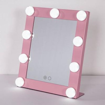 Portable Touch Screen 9 LEDs Bulb Lighted Tabletop Beauty Makeup Bath Mirror Pink