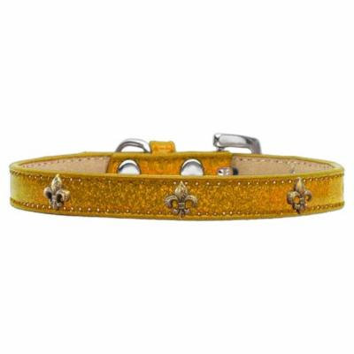 Bronze Fleur De Lis Widget Dog Collar Gold Ice Cream Size 14