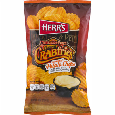 Herr's Chickie's & Pete's Famous Crabfries Seasoned Potato Chips with Creamy Cheese Sauce Flavoring 8.0 oz. Bag (4 Bags)