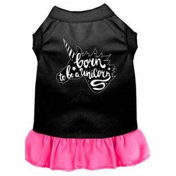 Born To Be A Unicorn Screen Print Dog Dress Black With Bright Pink Lg (14)