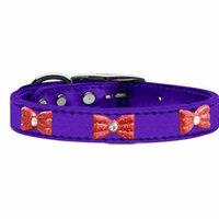 Red Glitter Bow Widget Genuine Metallic Leather Dog Collar Purple 24