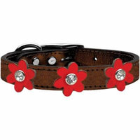 Metallic Flower Leather Collar Bronze With Metallic Red Flowers Size 20