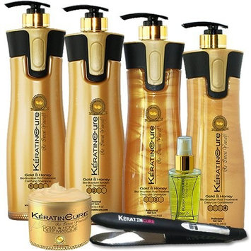 Keratin Cure Best Treatment Gold and Honey Bio 32 Oz 7piece kit Silky Soft Hair Formaldehyde Free Professional Complex with Argan Oil Nourishing Straightening Damaged...