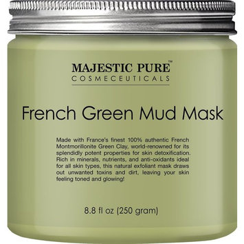 Majestic Pure French Green Mud Mask with Authentic Montmorillonite Green Clay, Exfoliating Facial Mask for Blackhead, Shrinking Pores, Fighting Acne and Toning Skin, 8.8 fl. oz. [French Green]