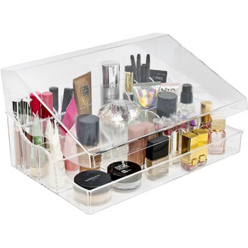 Ggi International Sorbus Acrylic Cosmetics Makeup Organizer Storage Case Display with Slanted Front Lid, Style 1, Slanted Lid Sectional Top